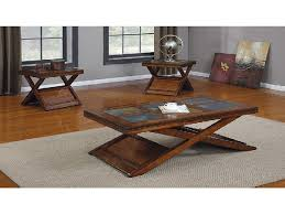 coffee table benicia dark oak finish and slate coffee and end tables set living room