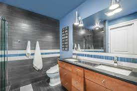 Grey And Blue Bathroom Houzz