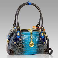 marino orlandi designer cobalt blue croc leather purse cross bag