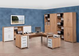 system office furniture in sonoma oak finish with white high gloss drawers and doors