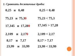 Презентация по математике на тему Десятичные дроби Десятичная  Сравнить десятичные дроби 0 25 и 0 48 0 25