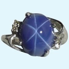 diamond linde star sapphire ring