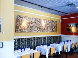 restaurant with modular fabric wall art panel