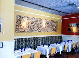restaurant with modular fabric wall art panel