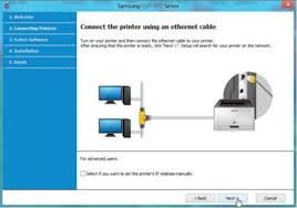 samsung laser printers how to setup a wired network connection in image shows diagram of ethernet cable connection
