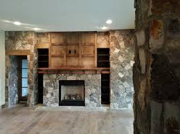 natural stone gas fireplace stone veneer interior design custom wood built