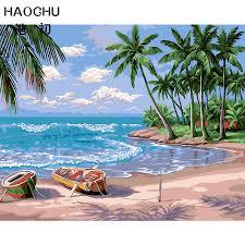 haochu summer beach landscape cloud sea wave wall art diy oil painting by number acrylic paint