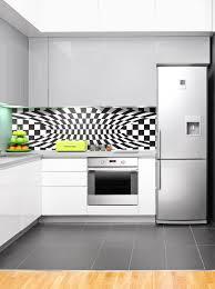 Splashback White Kitchen Black White Optical 1 Modern Acrylic Kitchen Splashback Wow