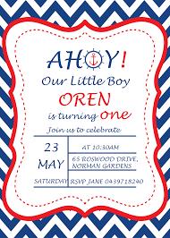 navy blue pink nautical birthday invitation