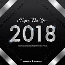 black new year background with a silver frame free vector