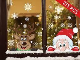 Ptsaying Weihnachtsmann Und Elch Aufkleber Schneeflocken Fensterbild Mit Weihnachtsmann Elk Abnehmbare Weihnachten Aufkleber Fenster275pcs