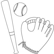 Baseball coloring pages cap bat glove ball - ColoringStar