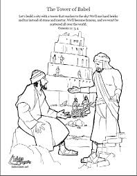 Small Picture Tower of Babel Coloring page script and Bible story http