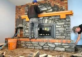 stone veneer over brick fireplace installing stone veneer over brick fireplace diy stone veneer over