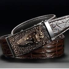 luxury cow leather belts for men good alligator pattern automatic buckle men s belt original brand 115cm coffee
