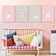 nursery canvas wall art beautiful gzcjhp cute pink rabbit bunny wall art canvas posters cartoon animal