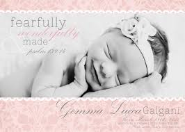 Sample Baby Announcement Christian Birth Announcement With Verse Fearfully And Wonderfully
