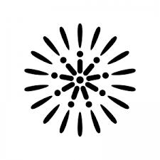 8月花火のシルエット02 無料のaipng白黒シルエットイラスト