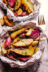 garlic potato foil packets grill oven