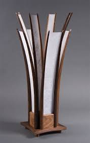 the chicago table lamp hand carved walnut shoji paper