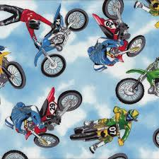 8 best Motorcycles Motorbikes Motocross Fabric images on Pinterest ... & Motocross Motorbikes Motorcycle Riders Quilt Fabric - Find a Fabric.  Available to purchase in Fat Adamdwight.com