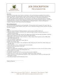 Supervisor Job Description Resume Housekeeping Job Description For Resume Resume Template 12