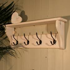 Black Wood Wall Coat Rack White Distressed Wooden Wall Mounted Shelf With Black Wrought Iron 28