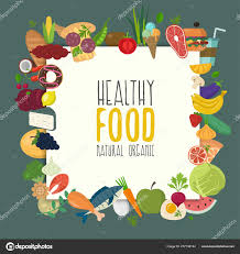 Design A Poster On The Topic Of Healthy Food Healthy Food Design With Flat Food Colorful Menu Template