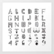 Machine Letters Grey Art Print By Davidbombai