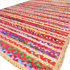 colorful striped woven jute chindi braided area decorative rag rug 3 x 5 ft