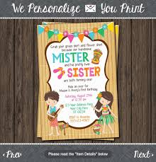 birthday invitation card best of luau twins birthday invitation hawaiian beach party invitations