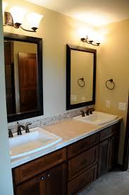 double sink bathroom mirrors. Bathroom. Brown Wooden Vanity Having White Top And Double Rectangular Sink Plus Mirror Bathroom Mirrors T