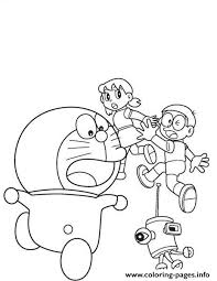 Doraemon (character) is a character from doraemon. Print Doraemon Chased By Robot Ab7a Coloring Pages Coloring Pages Doraemon Printable Coloring