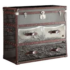aberdeen polished steel leather trunk
