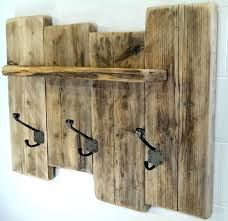 rustic coat rack wall with shelf hooks for