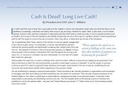 cash is dead long live cash an essay by federal reserve bank of san  federal