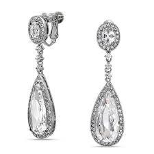 cz teadrop bridal chandelier earrings back clip on