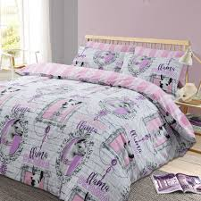 dreamscene llama drama duvet cover with pillowcase animal print bedding set stripe pink grey double