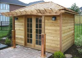 outside office shed. A Beautiful Backyard Office Design With Built-in Pergola Outside Shed