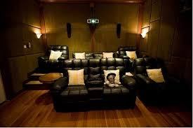 Cool Home Theater Design With Black Leather Sofas Cushion Coffee Table  Wooden Flooring Wall Ideas Home Theater Room ...