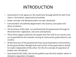 theory on principle of separation of powers