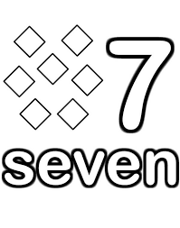Small Picture Learn Number 7 with Seven Diamonds Coloring Page Bulk Color