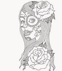 Small Picture Day of Dead Girl Coloring Pages Day of the Dead Coloring Page