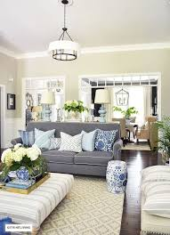 bright living room lighting. elegant open concept living room with grey sofas and drum shade pendant lights bright lighting p