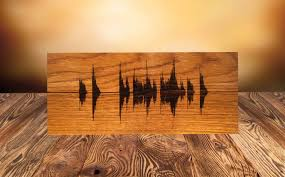 zoom on personalized wood wall art with soundwave wall art custom wood burned art personalized wooden