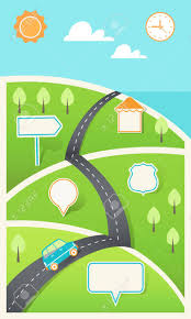 Road And Hills With Signs Travel Holiday Road Map Infographic