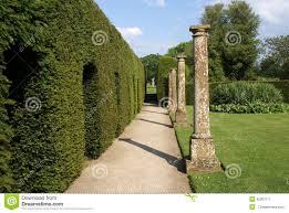 garden columns. Garden Pathway And Sculptured Hedge Columns