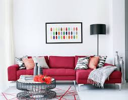 red couch and white walls and floor