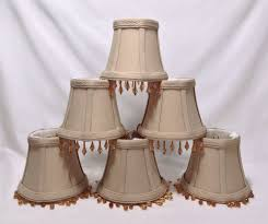 mini lamp shades chandelier clip beige tan fabric amber beads dangle set of 6