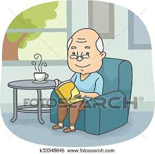 ilration of an elderly man reading a book while waiting for his tea to cool down